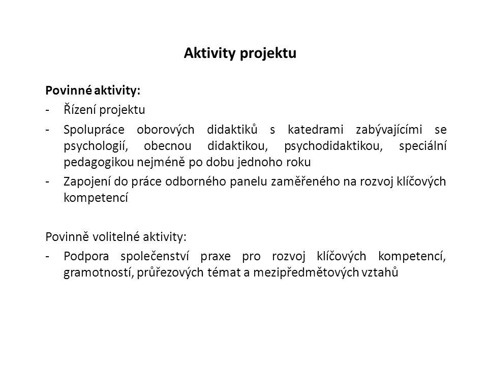 Aktivity projektu Povinné aktivity: -Řízení projektu -Spolupráce oborových didaktiků s katedrami zabývajícími se psychologií, obecnou didaktikou, psyc
