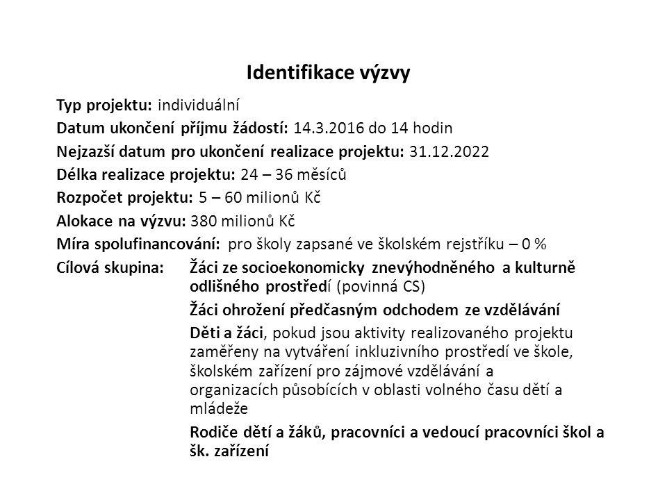 Identifikace výzvy Typ projektu: individuální Datum ukončení příjmu žádostí: 14.3.2016 do 14 hodin Nejzazší datum pro ukončení realizace projektu: 31.