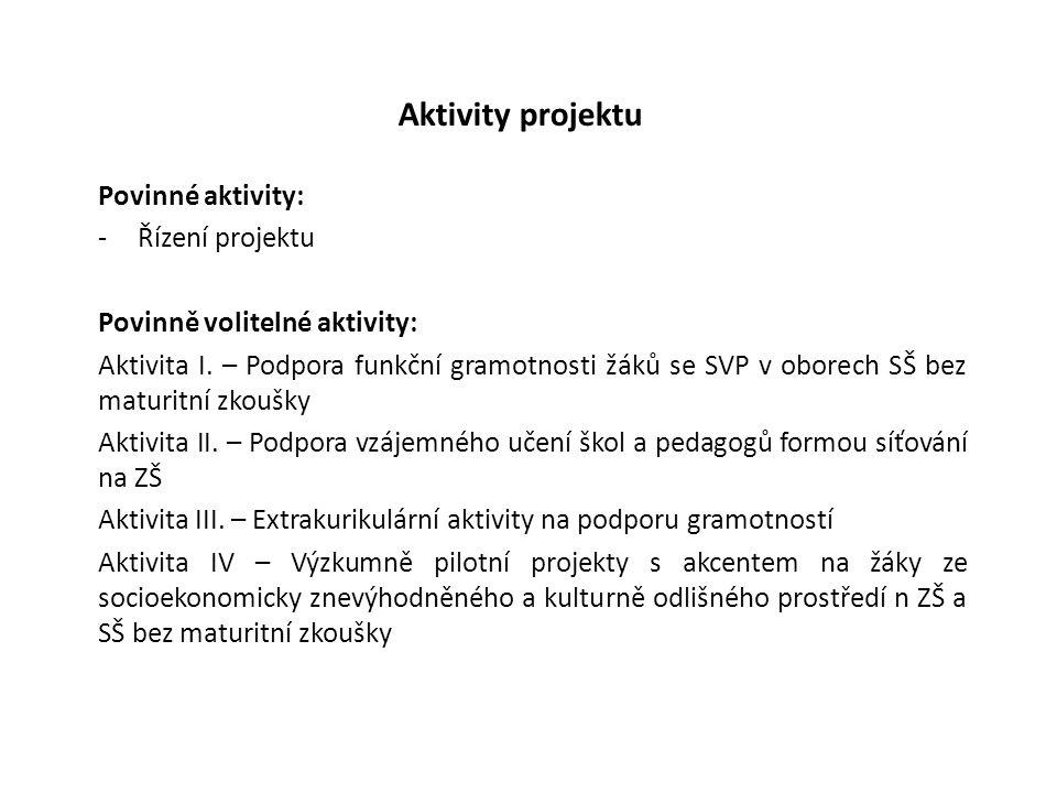 Aktivity projektu Povinné aktivity: -Řízení projektu Povinně volitelné aktivity: Aktivita I. – Podpora funkční gramotnosti žáků se SVP v oborech SŠ be