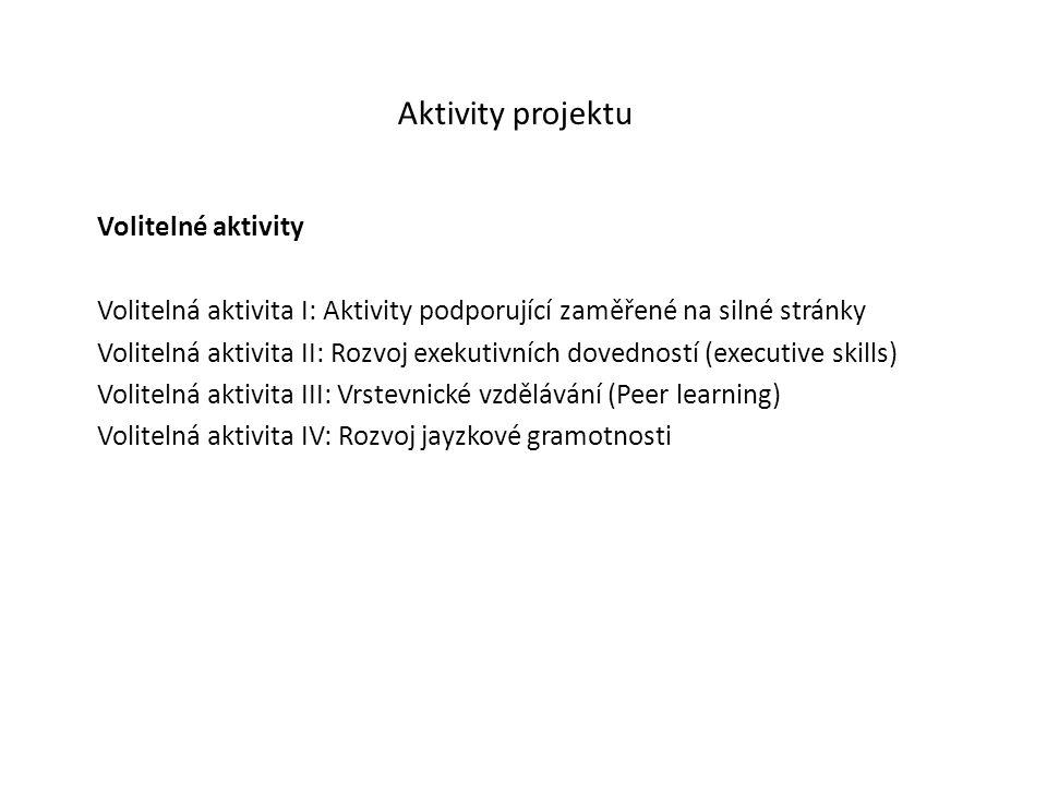 Aktivity projektu Volitelné aktivity Volitelná aktivita I: Aktivity podporující zaměřené na silné stránky Volitelná aktivita II: Rozvoj exekutivních dovedností (executive skills) Volitelná aktivita III: Vrstevnické vzdělávání (Peer learning) Volitelná aktivita IV: Rozvoj jayzkové gramotnosti