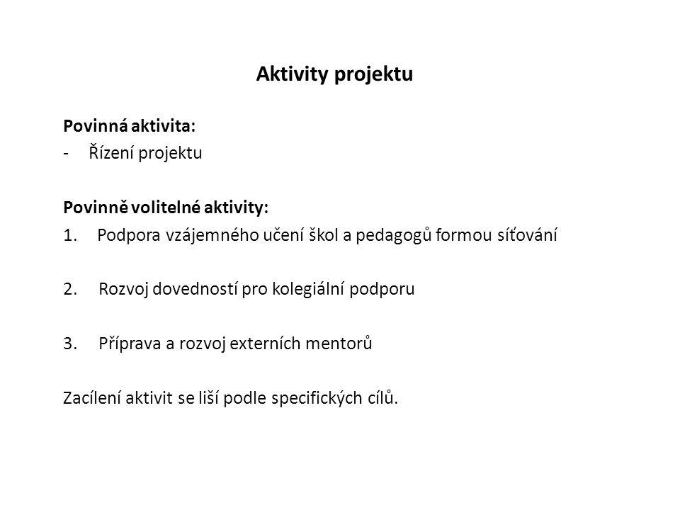 Aktivity projektu Povinná aktivita: -Řízení projektu Povinně volitelné aktivity: 1.Podpora vzájemného učení škol a pedagogů formou síťování 2.