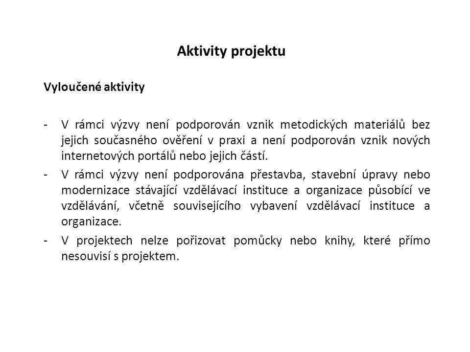 Aktivity projektu Vyloučené aktivity -V rámci výzvy není podporován vznik metodických materiálů bez jejich současného ověření v praxi a není podporová