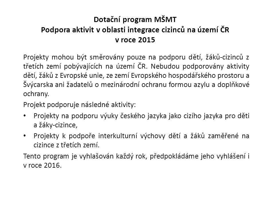 Dotační program MŠMT Podpora aktivit v oblasti integrace cizinců na území ČR v roce 2015 Projekty mohou být směrovány pouze na podporu dětí, žáků-cizinců z třetích zemí pobývajících na území ČR.