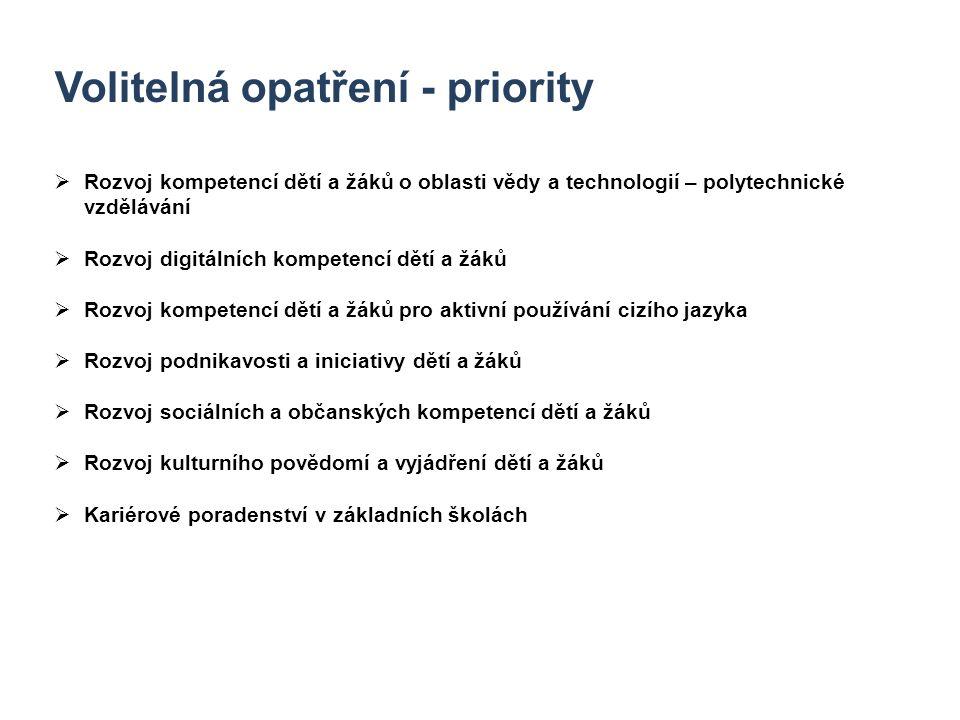 7 Volitelná opatření - priority  Rozvoj kompetencí dětí a žáků o oblasti vědy a technologií – polytechnické vzdělávání  Rozvoj digitálních kompetenc