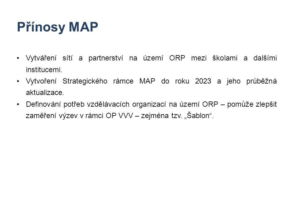 8 Přínosy MAP Vytváření sítí a partnerství na území ORP mezi školami a dalšími institucemi. Vytvoření Strategického rámce MAP do roku 2023 a jeho průb