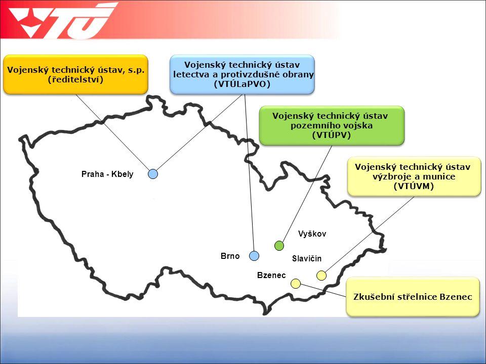 Praha - Kbely Vyškov Slavičín Bzenec Brno Vojenský technický ústav letectva a protivzdušné obrany (VTÚLaPVO) Vojenský technický ústav letectva a protivzdušné obrany (VTÚLaPVO) Vojenský technický ústav výzbroje a munice (VTÚVM) Vojenský technický ústav výzbroje a munice (VTÚVM) Vojenský technický ústav pozemního vojska (VTÚPV) Vojenský technický ústav pozemního vojska (VTÚPV) Zkušební střelnice Bzenec Vojenský technický ústav, s.p.