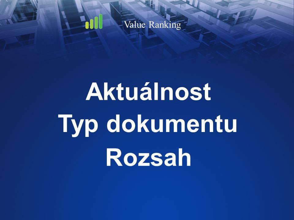 Aktuálnost Value Ranking Typ dokumentu Rozsah
