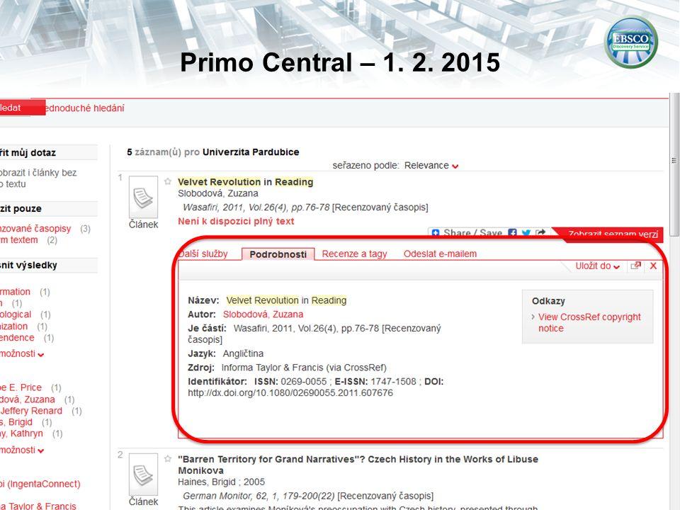 Primo Central – 1. 2. 2015