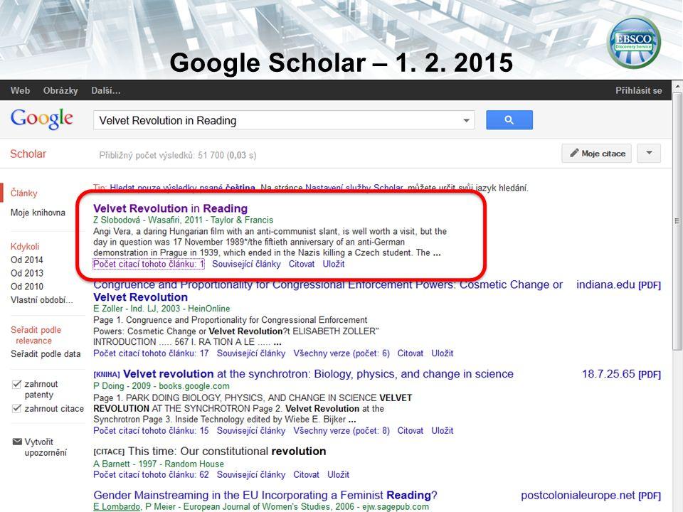 Google Scholar – 1. 2. 2015