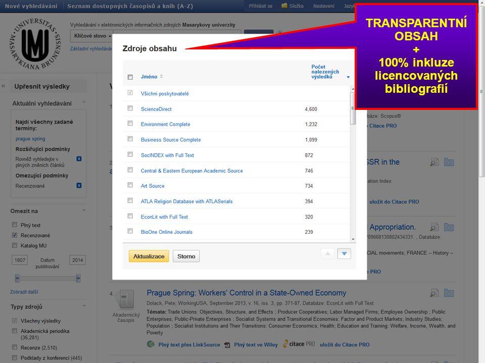 TRANSPARENTNÍ OBSAH + 100% inkluze licencovaných bibliografií