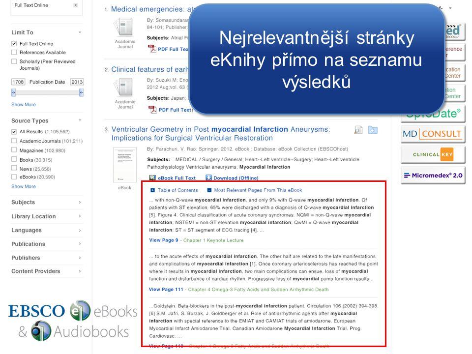 Nejrelevantnější stránky eKnihy přímo na seznamu výsledků