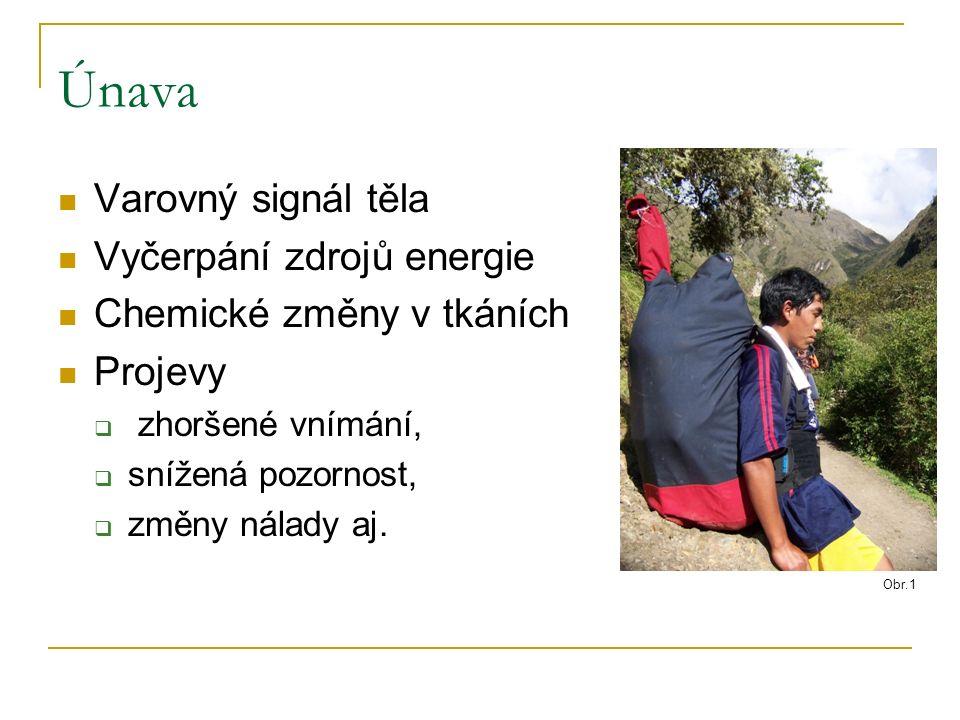 Únava Varovný signál těla Vyčerpání zdrojů energie Chemické změny v tkáních Projevy  zhoršené vnímání,  snížená pozornost,  změny nálady aj.