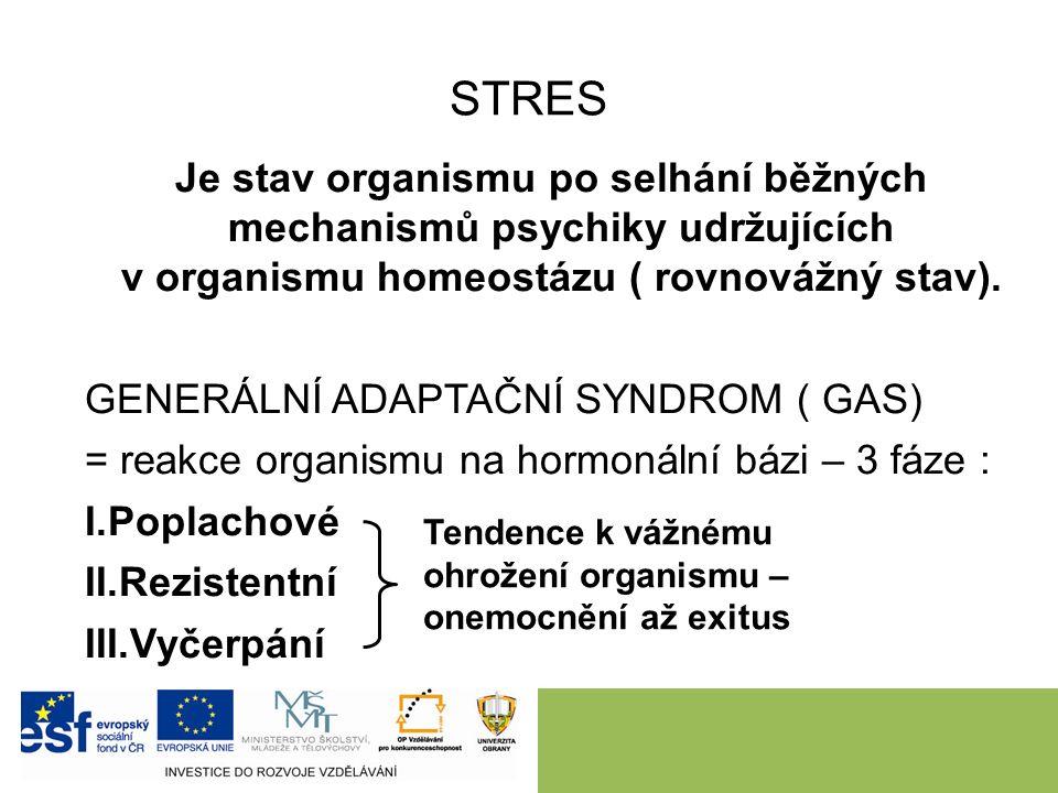 STRES Je stav organismu po selhání běžných mechanismů psychiky udržujících v organismu homeostázu ( rovnovážný stav). GENERÁLNÍ ADAPTAČNÍ SYNDROM ( GA