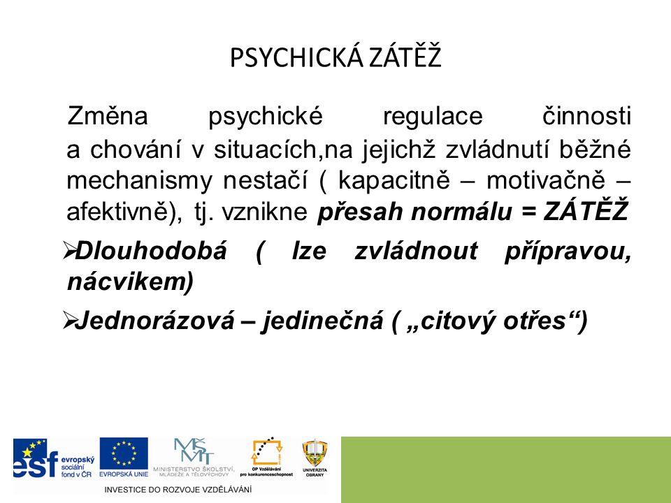 PSYCHICKÁ ZÁTĚŽ Změna psychické regulace činnosti a chování v situacích,na jejichž zvládnutí běžné mechanismy nestačí ( kapacitně – motivačně – afektivně), tj.