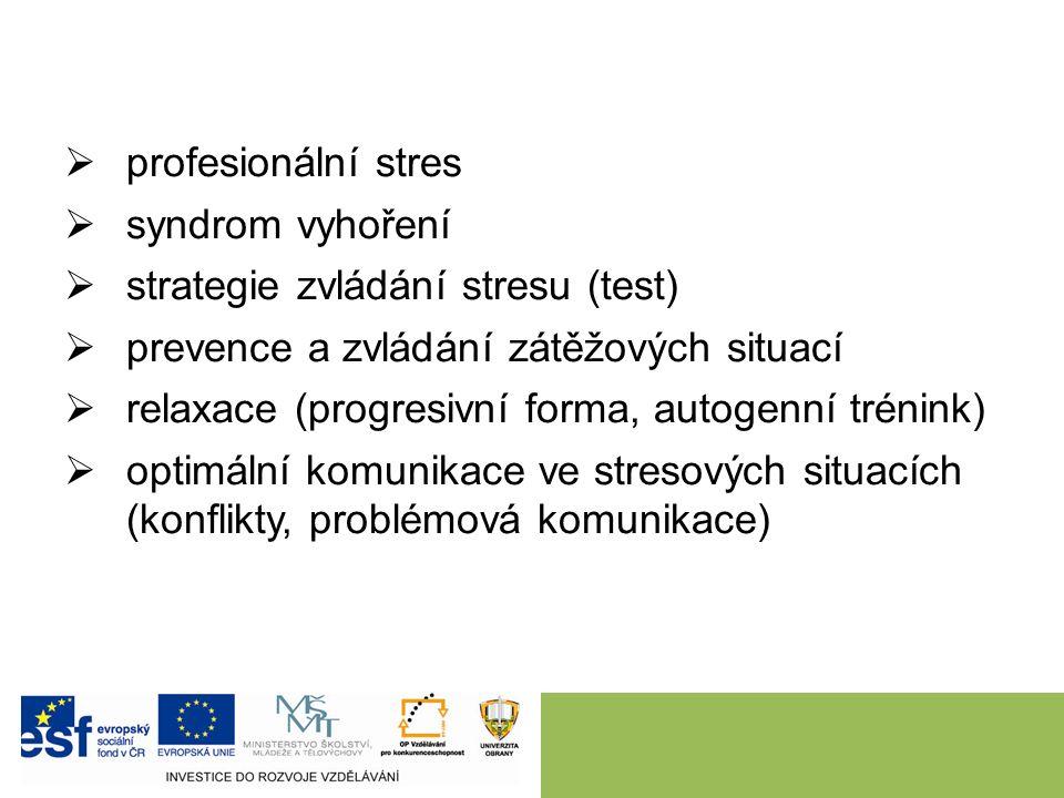  profesionální stres  syndrom vyhoření  strategie zvládání stresu (test)  prevence a zvládání zátěžových situací  relaxace (progresivní forma, au