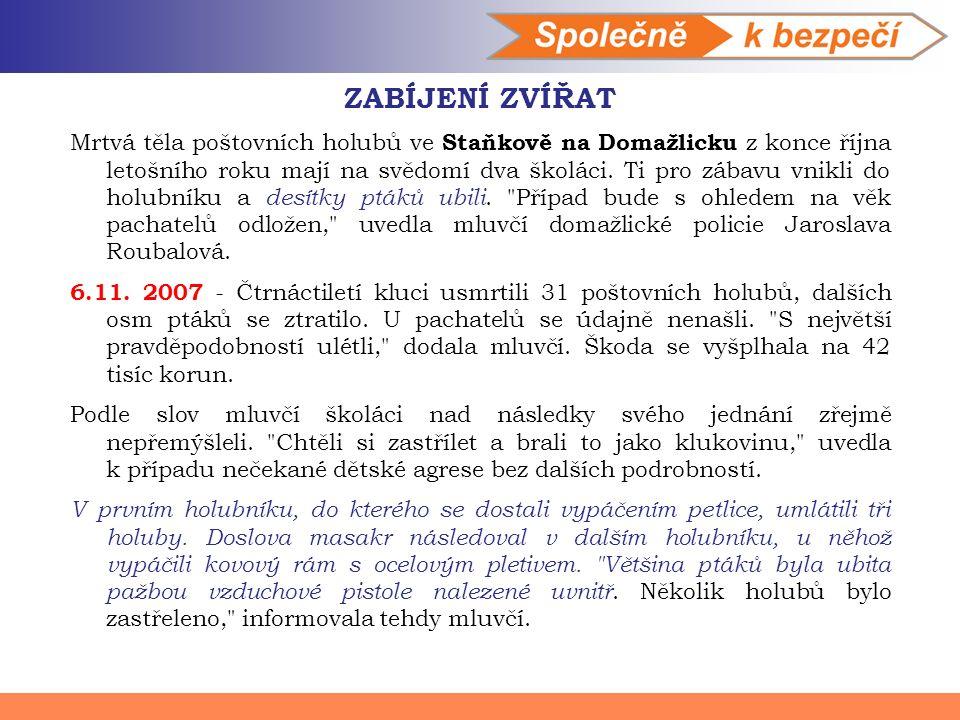 ZABÍJENÍ ZVÍŘAT Mrtvá těla poštovních holubů ve Staňkově na Domažlicku z konce října letošního roku mají na svědomí dva školáci.