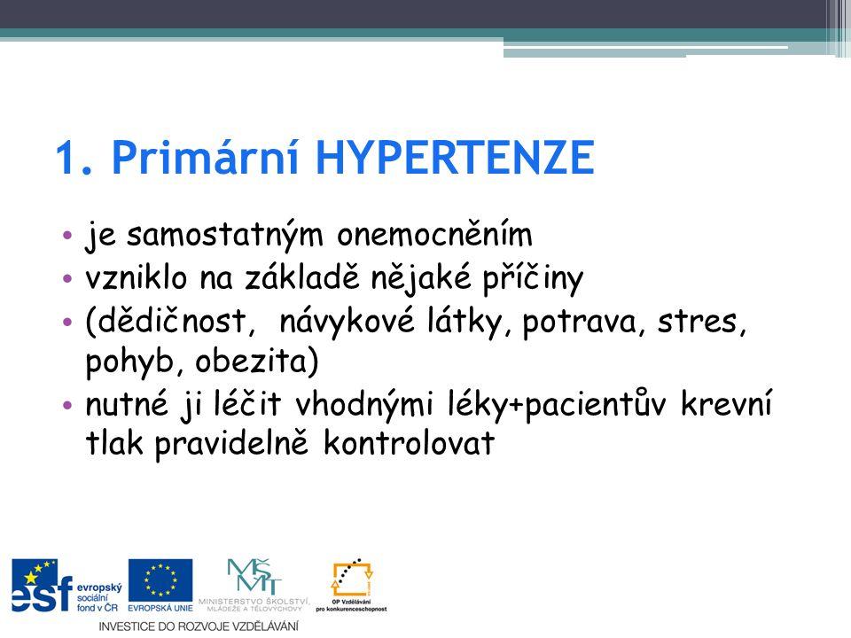 1. Primární HYPERTENZE je samostatným onemocněním vzniklo na základě nějaké příčiny (dědičnost, návykové látky, potrava, stres, pohyb, obezita) nutné