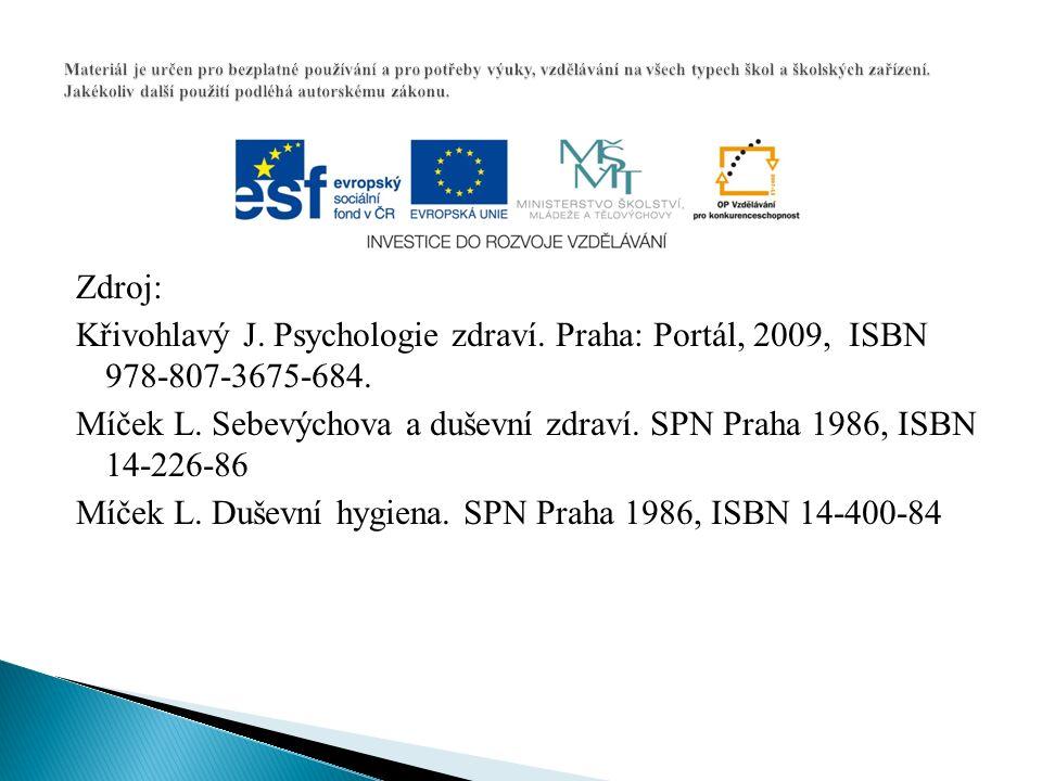 Zdroj: Křivohlavý J. Psychologie zdraví. Praha: Portál, 2009, ISBN 978-807-3675-684. Míček L. Sebevýchova a duševní zdraví. SPN Praha 1986, ISBN 14-22