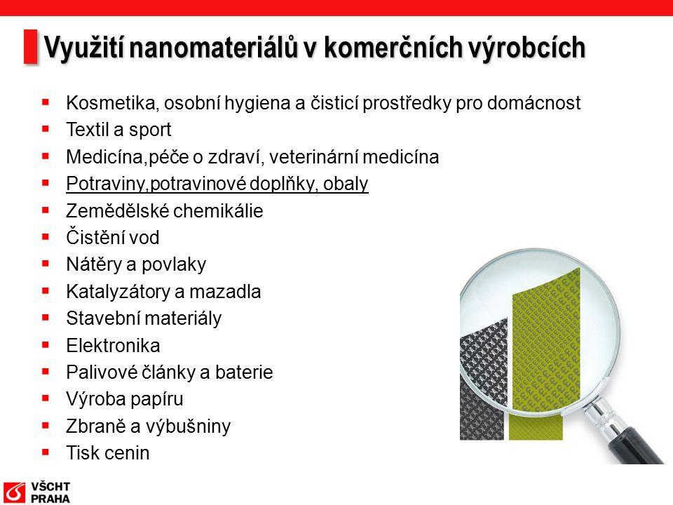 Využití nanomateriálů v komerčních výrobcích  Kosmetika, osobní hygiena a čisticí prostředky pro domácnost  Textil a sport  Medicína,péče o zdraví, veterinární medicína  Potraviny,potravinové doplňky, obaly  Zemědělské chemikálie  Čistění vod  Nátěry a povlaky  Katalyzátory a mazadla  Stavební materiály  Elektronika  Palivové články a baterie  Výroba papíru  Zbraně a výbušniny  Tisk cenin