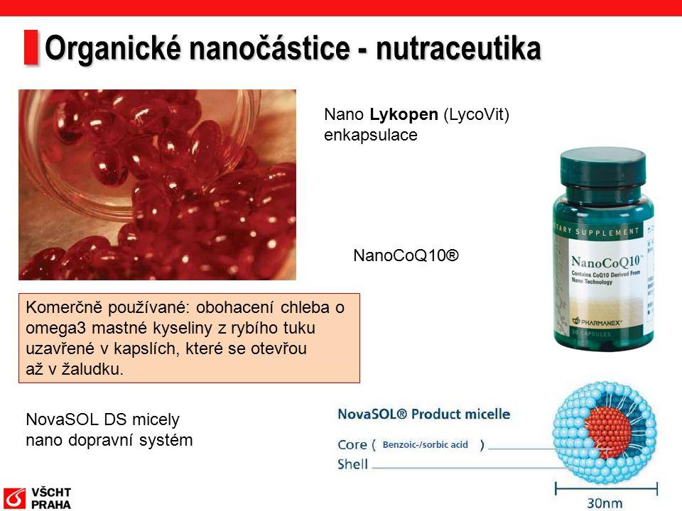 Organické nanočástice - nutraceutika Nano Lykopen (LycoVit) enkapsulace NovaSOL DS micely nano dopravní systém NanoCoQ10® Komerčně používané: obohacení chleba o omega3 mastné kyseliny z rybího tuku uzavřené v kapslích, které se otevřou až v žaludku.