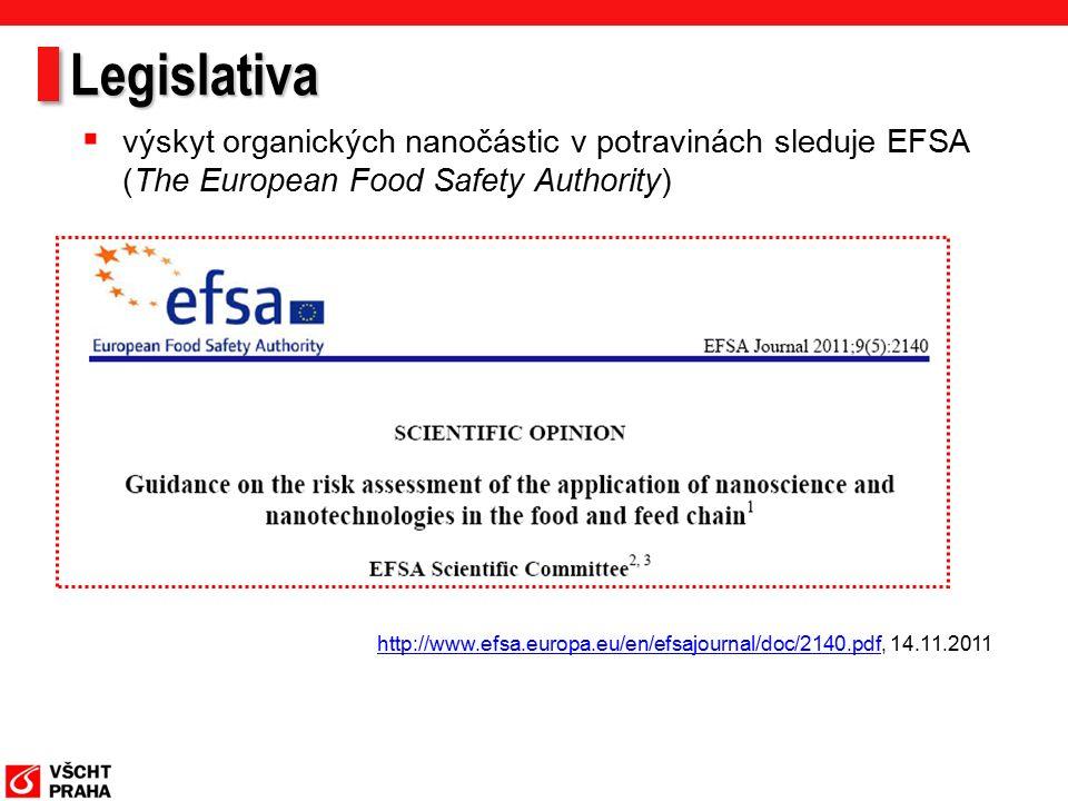 Legislativa http://www.efsa.europa.eu/en/efsajournal/doc/2140.pdfhttp://www.efsa.europa.eu/en/efsajournal/doc/2140.pdf, 14.11.2011  výskyt organických nanočástic v potravinách sleduje EFSA (The European Food Safety Authority)