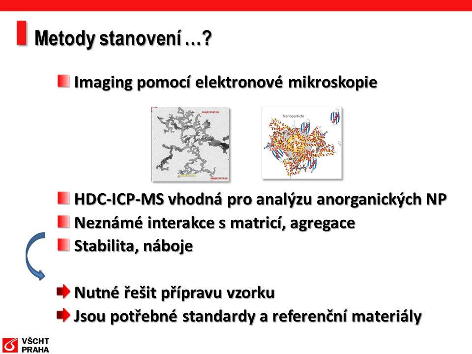 Imaging pomocí elektronové mikroskopie HDC-ICP-MS vhodná pro analýzu anorganických NP Neznámé interakce s matricí, agregace Stabilita, náboje Nutné řešit přípravu vzorku Jsou potřebné standardy a referenční materiály Metody stanovení …