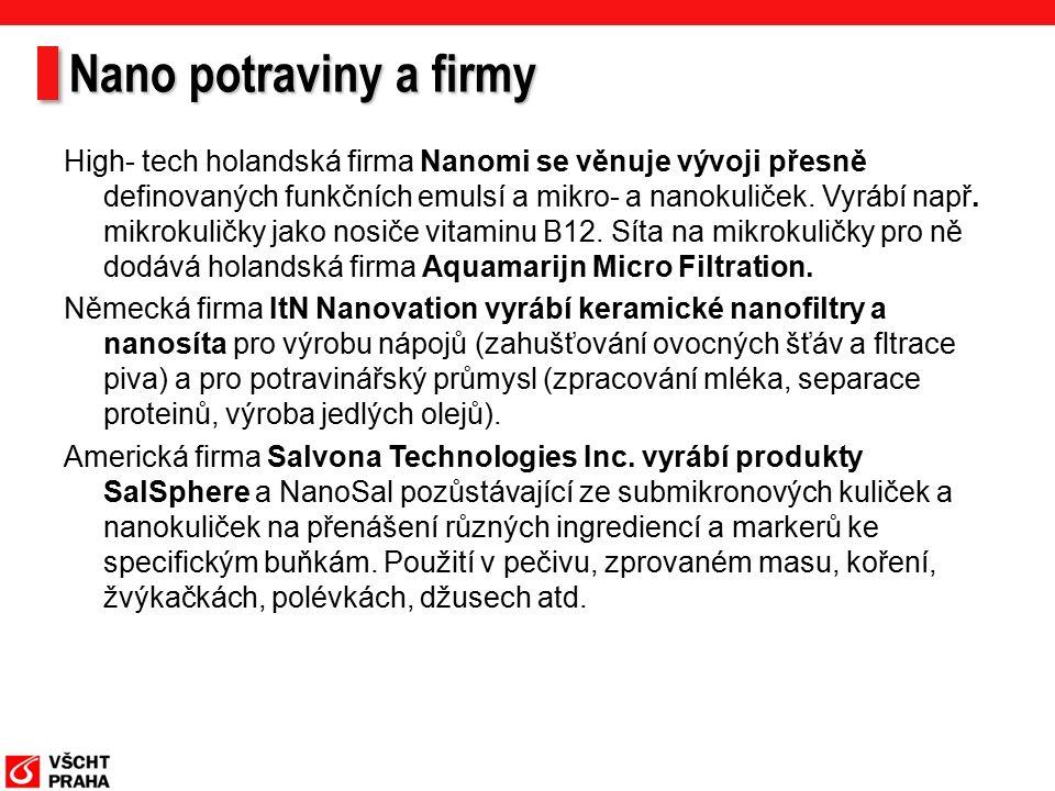 Nano potraviny a firmy High- tech holandská firma Nanomi se věnuje vývoji přesně definovaných funkčních emulsí a mikro- a nanokuliček.