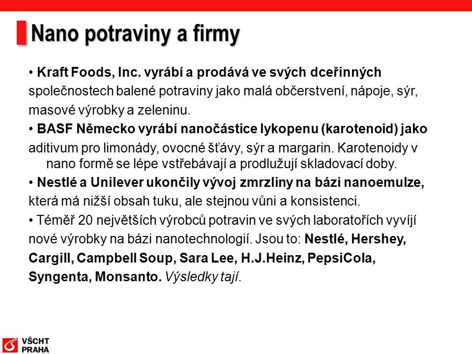 Nano potraviny a firmy Kraft Foods, Inc.