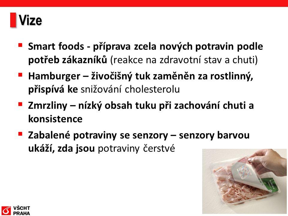 Vize  Smart foods - příprava zcela nových potravin podle potřeb zákazníků (reakce na zdravotní stav a chuti)  Hamburger – živočišný tuk zaměněn za rostlinný, přispívá ke snižování cholesterolu  Zmrzliny – nízký obsah tuku při zachování chuti a konsistence  Zabalené potraviny se senzory – senzory barvou ukáží, zda jsou potraviny čerstvé