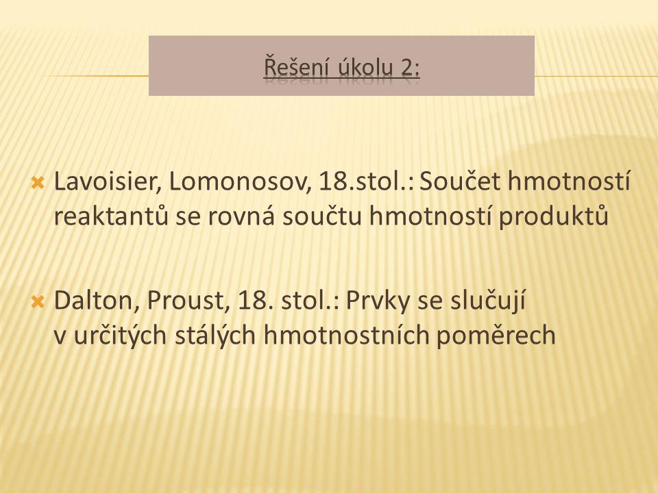  Lavoisier, Lomonosov, 18.stol.: Součet hmotností reaktantů se rovná součtu hmotností produktů  Dalton, Proust, 18.
