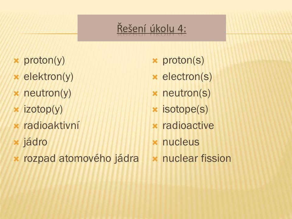  proton(y)  elektron(y)  neutron(y)  izotop(y)  radioaktivní  jádro  rozpad atomového jádra  proton(s)  electron(s)  neutron(s)  isotope(s)  radioactive  nucleus  nuclear fission