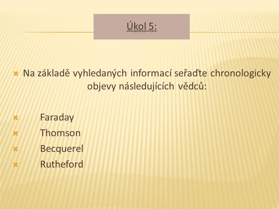  Na základě vyhledaných informací seřaďte chronologicky objevy následujících vědců:  Faraday  Thomson  Becquerel  Rutheford