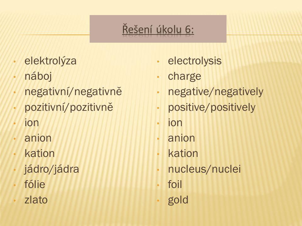 elektrolýza náboj negativní/negativně pozitivní/pozitivně ion anion kation jádro/jádra fólie zlato electrolysis charge negative/negatively positive/positively ion anion kation nucleus/nuclei foil gold