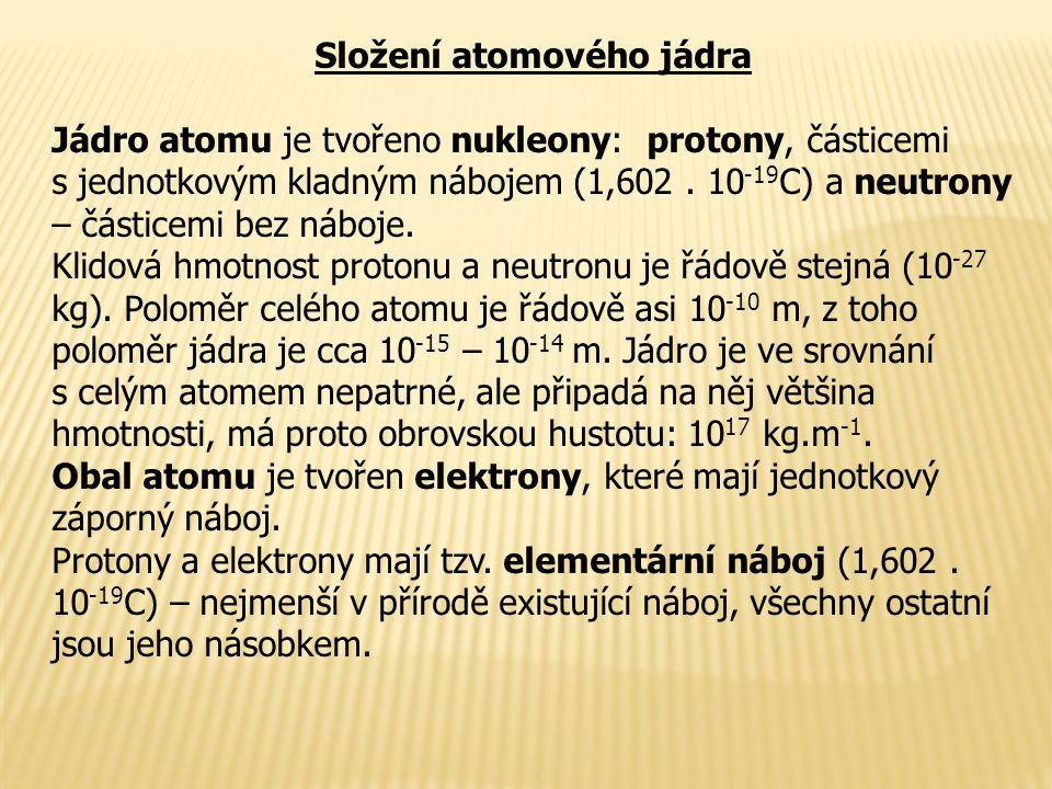 Složení atomového jádra Jádro atomu je tvořeno nukleony: protony, částicemi s jednotkovým kladným nábojem (1,602.