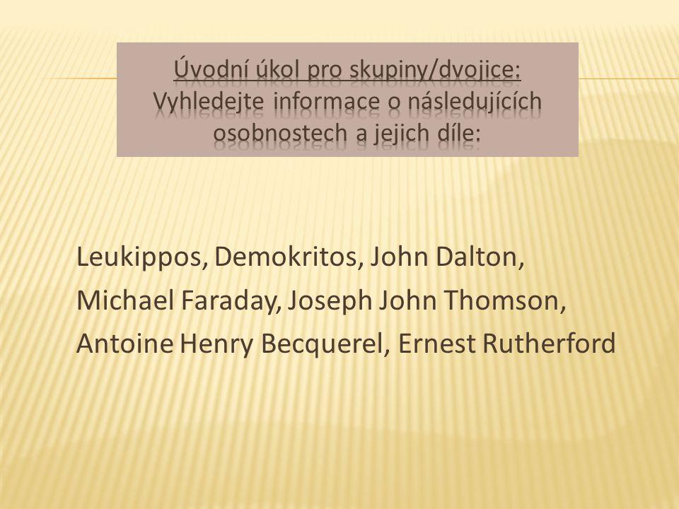 Leukippos, Demokritos, John Dalton, Michael Faraday, Joseph John Thomson, Antoine Henry Becquerel, Ernest Rutherford