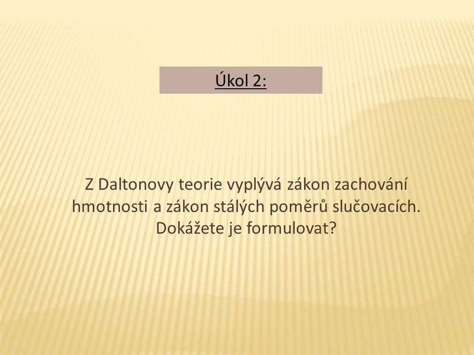 Z Daltonovy teorie vyplývá zákon zachování hmotnosti a zákon stálých poměrů slučovacích.