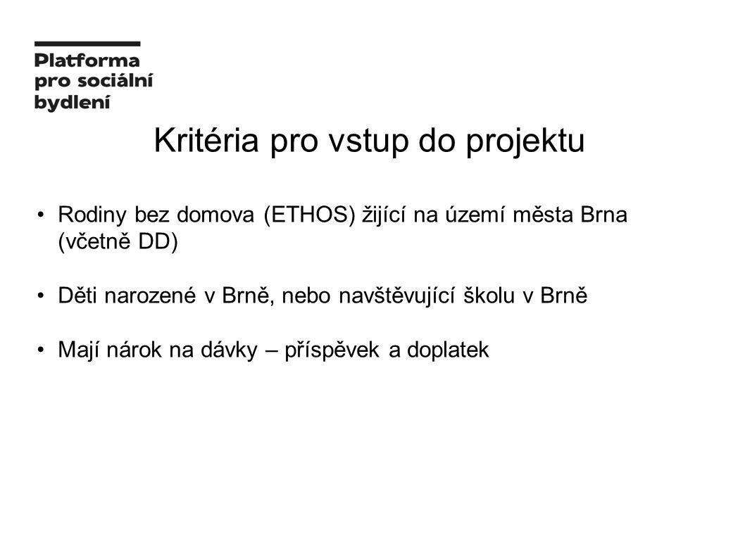 Kritéria pro vstup do projektu Rodiny bez domova (ETHOS) žijící na území města Brna (včetně DD) Děti narozené v Brně, nebo navštěvující školu v Brně Mají nárok na dávky – příspěvek a doplatek