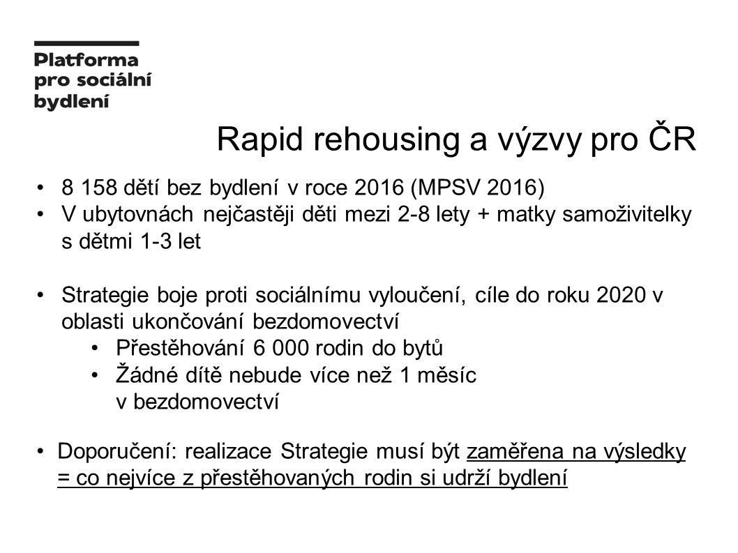 Rapid rehousing a výzvy pro ČR 8 158 dětí bez bydlení v roce 2016 (MPSV 2016) V ubytovnách nejčastěji děti mezi 2-8 lety + matky samoživitelky s dětmi 1-3 let Strategie boje proti sociálnímu vyloučení, cíle do roku 2020 v oblasti ukončování bezdomovectví Přestěhování 6 000 rodin do bytů Žádné dítě nebude více než 1 měsíc v bezdomovectví Doporučení: realizace Strategie musí být zaměřena na výsledky = co nejvíce z přestěhovaných rodin si udrží bydlení