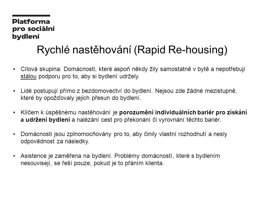 Rychlé nastěhování (Rapid Re-housing) Cílová skupina: Domácnosti, které aspoň někdy žily samostatně v bytě a nepotřebují stálou podporu pro to, aby si bydlení udržely.