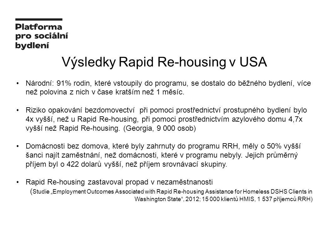 Výsledky Rapid Re-housing v USA Národní: 91% rodin, které vstoupily do programu, se dostalo do běžného bydlení, více než polovina z nich v čase kratším než 1 měsíc.