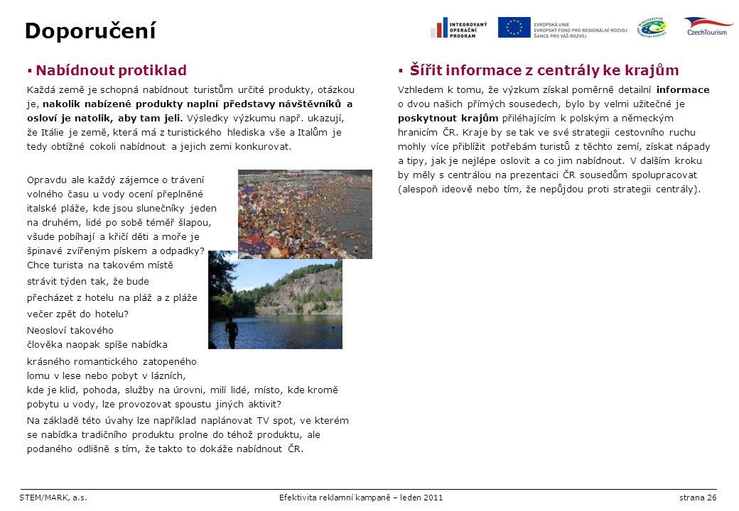 STEM/MARK, a.s.Efektivita reklamní kampaně – leden 2011strana 26 Doporučení  Nabídnout protiklad Každá země je schopná nabídnout turistům určité prod