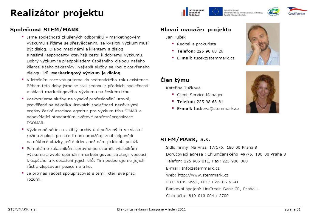 STEM/MARK, a.s.Efektivita reklamní kampaně – leden 2011strana 31 Realizátor projektu Společnost STEM/MARK  Jsme společností zkušených odborníků v mar