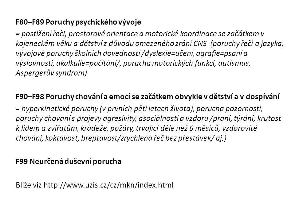 F80–F89 Poruchy psychického vývoje = postižení řeči, prostorové orientace a motorické koordinace se začátkem v kojeneckém věku a dětství z důvodu omez