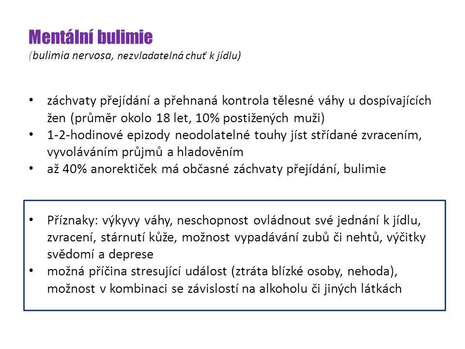 Mentální bulimie (bulimia nervosa, nezvladatelná chuť k jídlu ) záchvaty přejídání a přehnaná kontrola tělesné váhy u dospívajících žen (průměr okolo