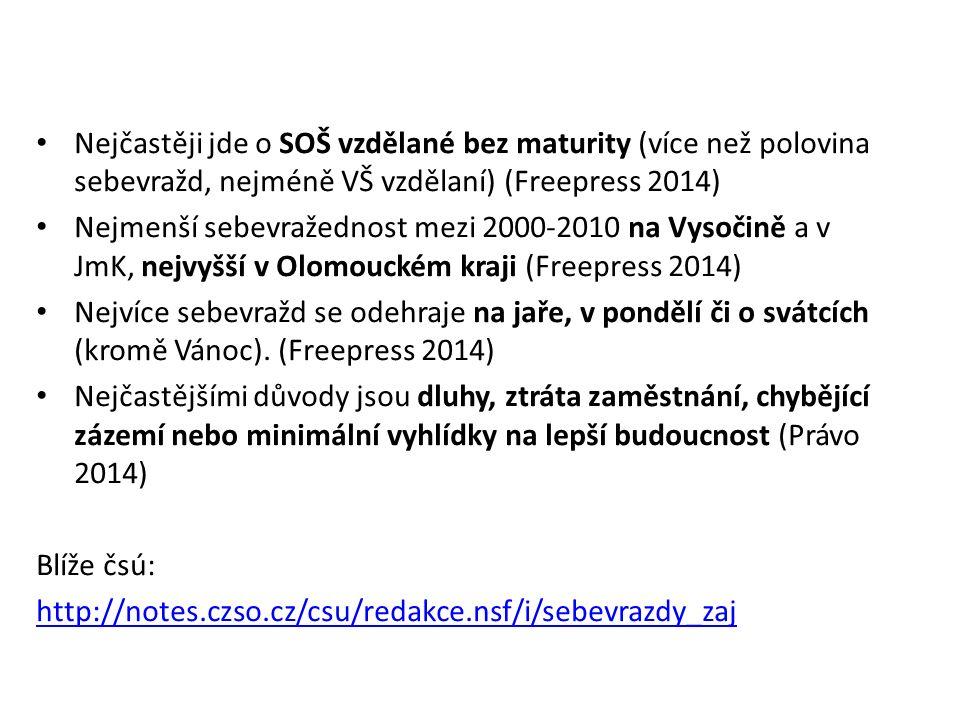 Nejčastěji jde o SOŠ vzdělané bez maturity (více než polovina sebevražd, nejméně VŠ vzdělaní) (Freepress 2014) Nejmenší sebevražednost mezi 2000-2010 na Vysočině a v JmK, nejvyšší v Olomouckém kraji (Freepress 2014) Nejvíce sebevražd se odehraje na jaře, v pondělí či o svátcích (kromě Vánoc).