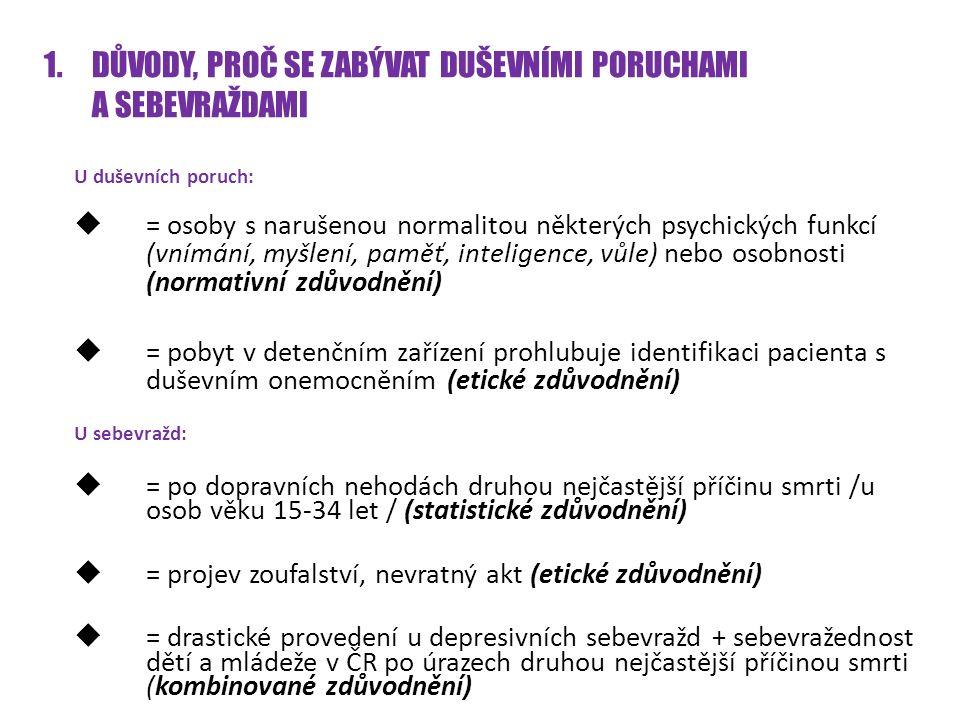 1.DŮVODY, PROČ SE ZABÝVAT DUŠEVNÍMI PORUCHAMI A SEBEVRAŽDAMI U duševních poruch:  = osoby s narušenou normalitou některých psychických funkcí (vnímání, myšlení, paměť, inteligence, vůle) nebo osobnosti (normativní zdůvodnění)  = pobyt v detenčním zařízení prohlubuje identifikaci pacienta s duševním onemocněním (etické zdůvodnění) U sebevražd:  = po dopravních nehodách druhou nejčastější příčinu smrti /u osob věku 15-34 let / (statistické zdůvodnění)  = projev zoufalství, nevratný akt (etické zdůvodnění)  = drastické provedení u depresivních sebevražd + sebevražednost dětí a mládeže v ČR po úrazech druhou nejčastější příčinou smrti (kombinované zdůvodnění)