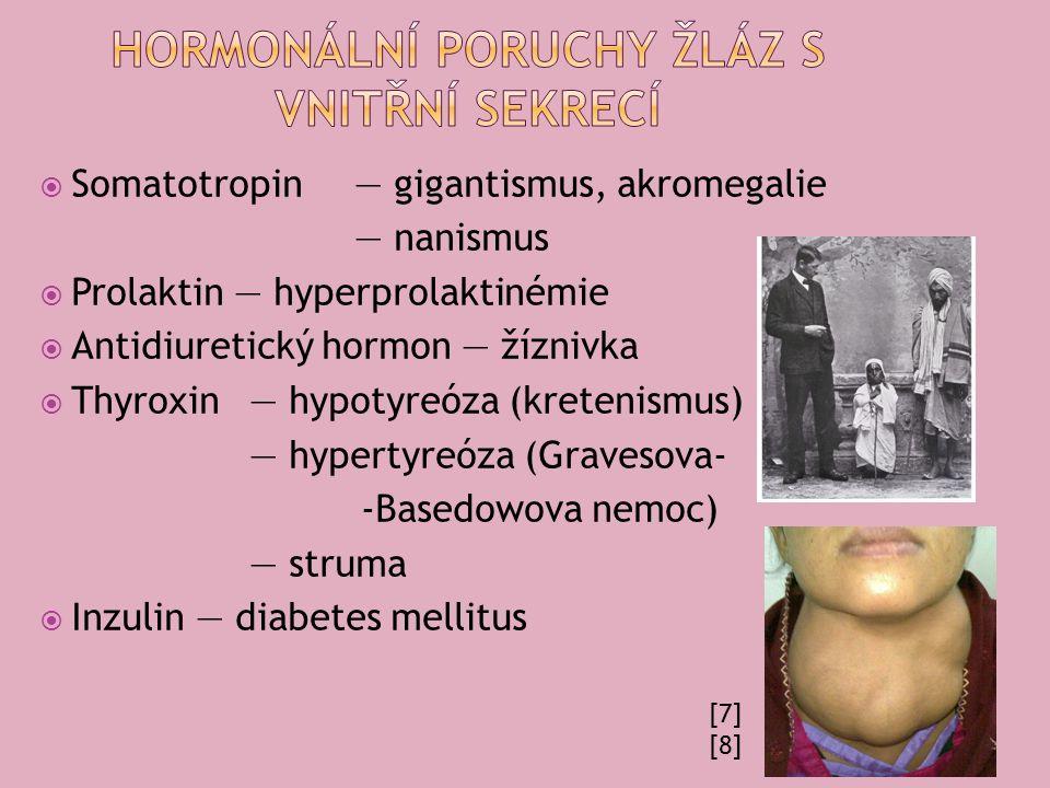  Somatotropin — gigantismus, akromegalie — nanismus  Prolaktin — hyperprolaktinémie  Antidiuretický hormon — žíznivka  Thyroxin — hypotyreóza (kretenismus) — hypertyreóza (Gravesova- -Basedowova nemoc) — struma  Inzulin — diabetes mellitus [7] [8]