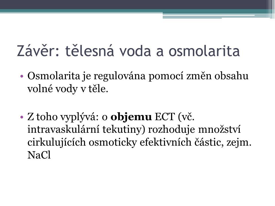 Závěr: tělesná voda a osmolarita Osmolarita je regulována pomocí změn obsahu volné vody v těle.
