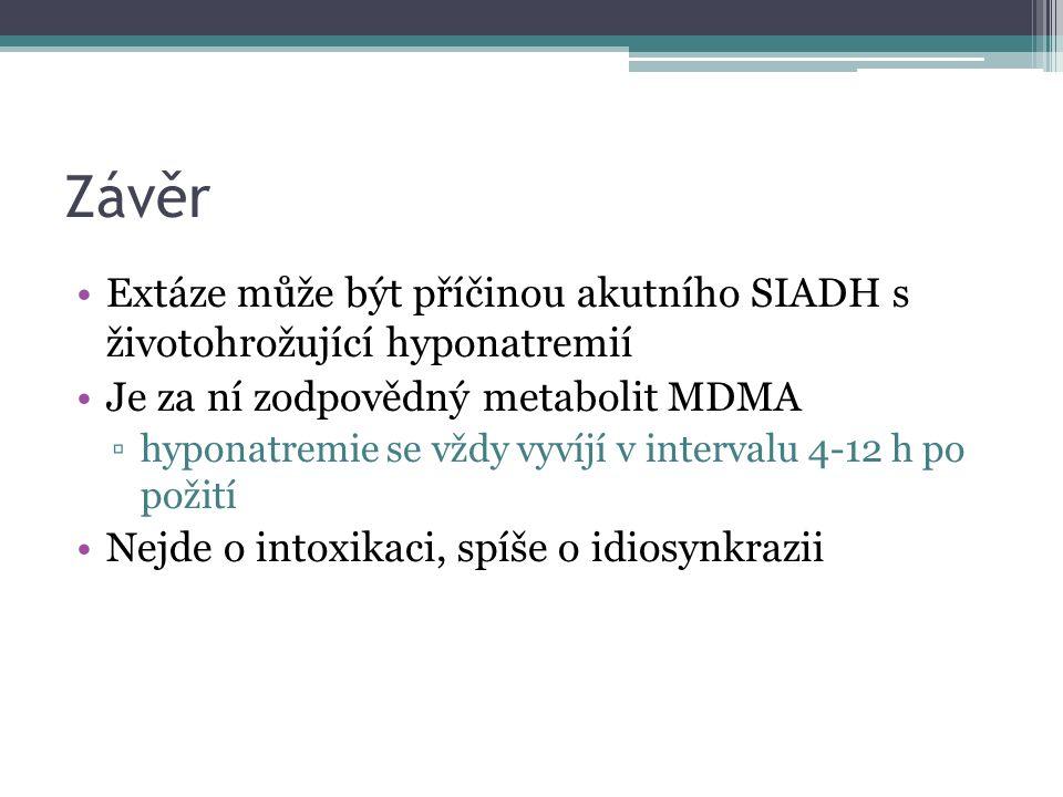 Závěr Extáze může být příčinou akutního SIADH s životohrožující hyponatremií Je za ní zodpovědný metabolit MDMA ▫hyponatremie se vždy vyvíjí v intervalu 4-12 h po požití Nejde o intoxikaci, spíše o idiosynkrazii