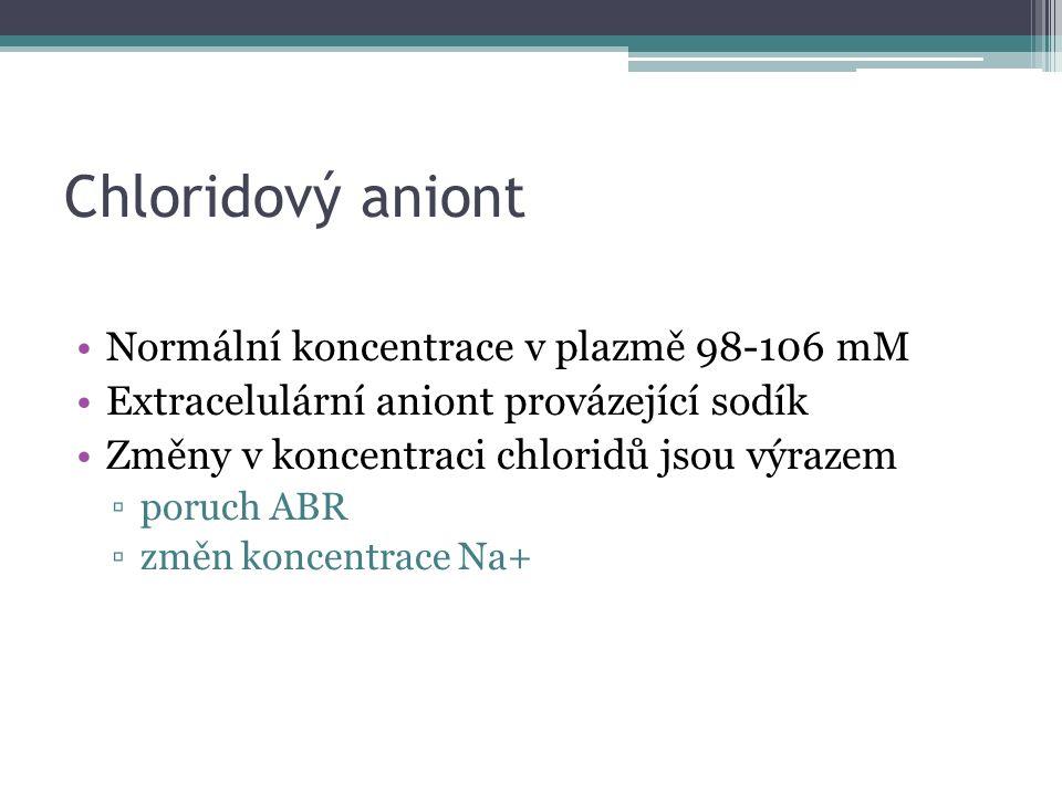 Chloridový aniont Normální koncentrace v plazmě 98-106 mM Extracelulární aniont provázející sodík Změny v koncentraci chloridů jsou výrazem ▫poruch ABR ▫změn koncentrace Na+